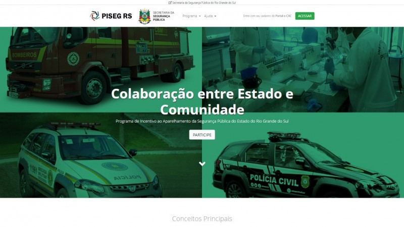 Capa do site do Piseg.