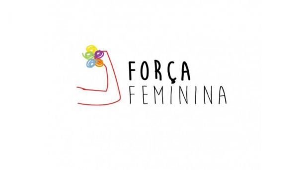 """Card em branco com a ilustração de um braço fazendo símbolo de força com os dizeres """"Força Feminina"""""""