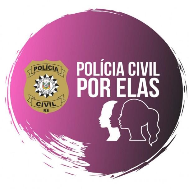 imagem gráfica, com fundo roxo, o logo da polícia civil e o perfil, em desenho, de várias mulheres